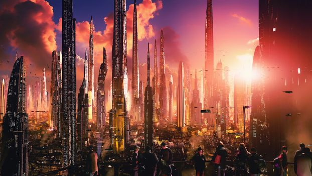 Фото бесплатно ночь, художественные работы, футуристический город, научная фантастика, цифровое искусство, концепт-арт, городской пейзаж, футуристический, закат, облака