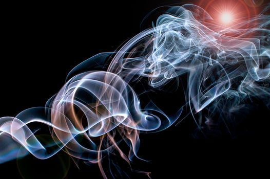 Photo free smoke, black background, glow