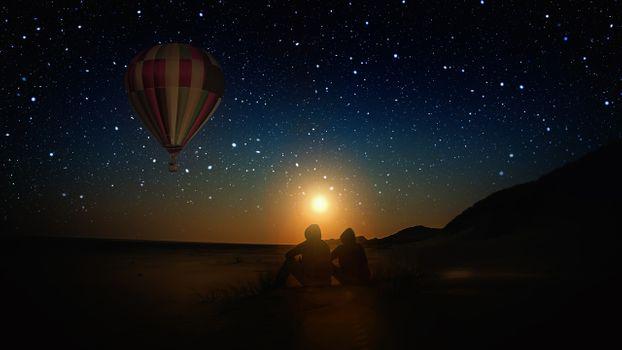 Photo free balloon, stars, night