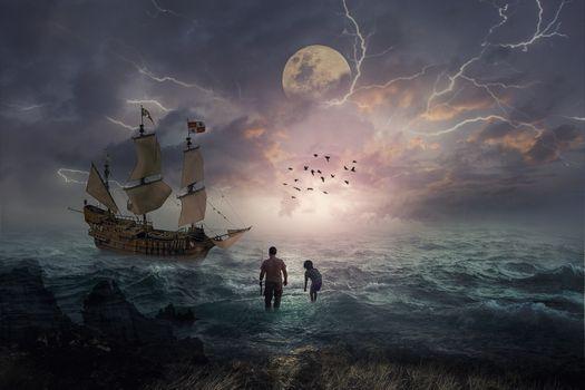 Фото бесплатно море, волны, люди