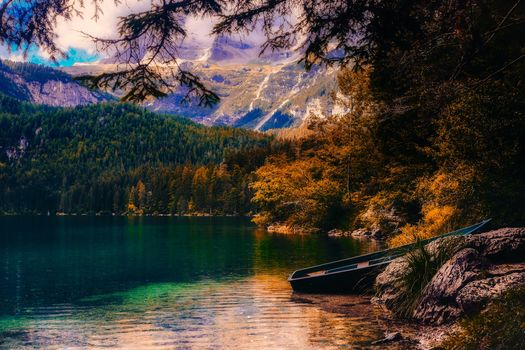 Photo free nature, boat, mountains