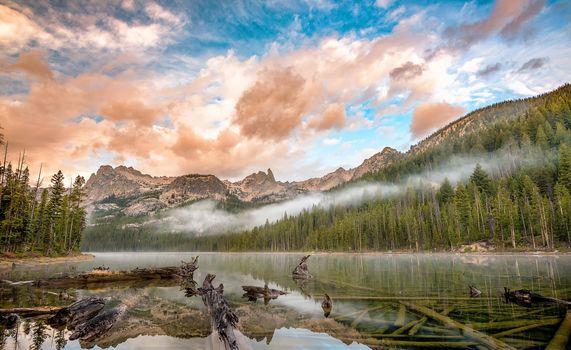 Фото бесплатно небо, туман, озеро