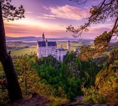 Photo free landscape, Germany, Hohenschwangau sunset