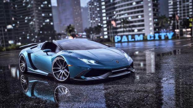 Фото бесплатно Need For Speed Heat, Ламборгини, пальмовый город