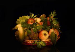 Бесплатные фото фрукты,десерт,еда,яблоки,груши,чёрный фон,fonwall ru