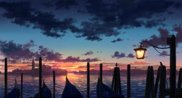 Photo free sunset, lantern, clouds