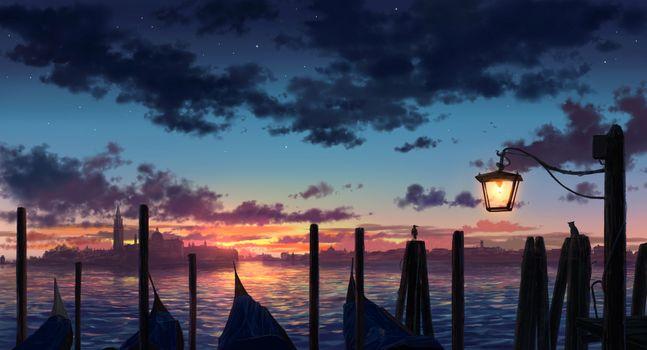 Фото бесплатно закат, фонарь, облака