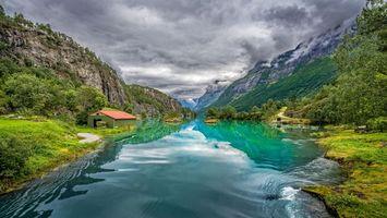 Бесплатные фото Норвегия,Norwegen,природа,Скандинавия,река,горы,домик