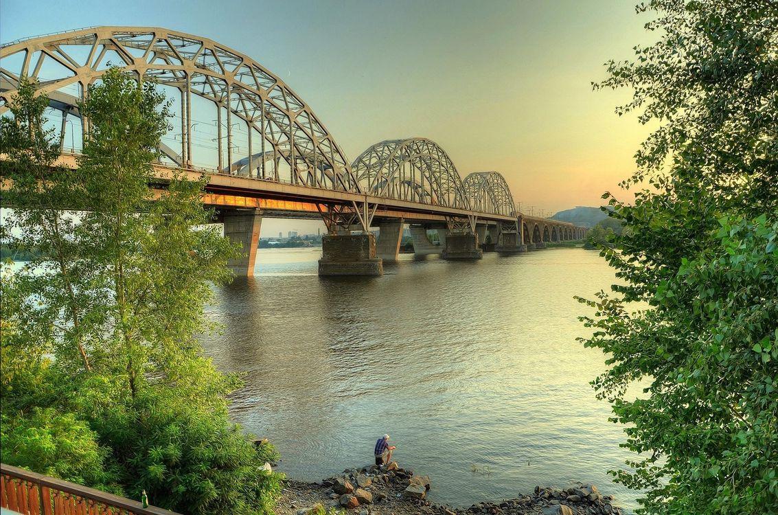 Фото бесплатно заводь, Днепр, Киев, Украина, мост, река, деревья, пейзаж, пейзажи