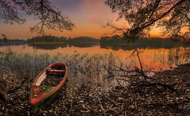 Фото бесплатно закат, озеро, лодка, деревья, пейзаж, пейзажи