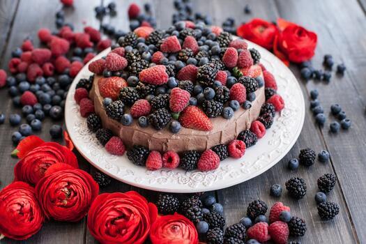 Photo free berries, cake, pastry