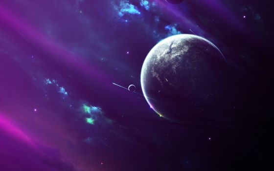 Photo free purple galaxy, planets, shooting stars