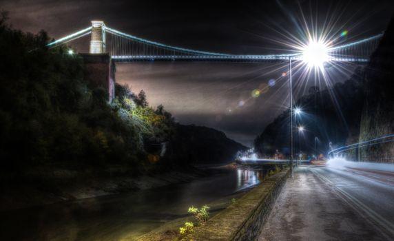 Photo free bridge, light, night