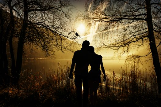 Photo free a boy and a girl, silhouettes, sun rays