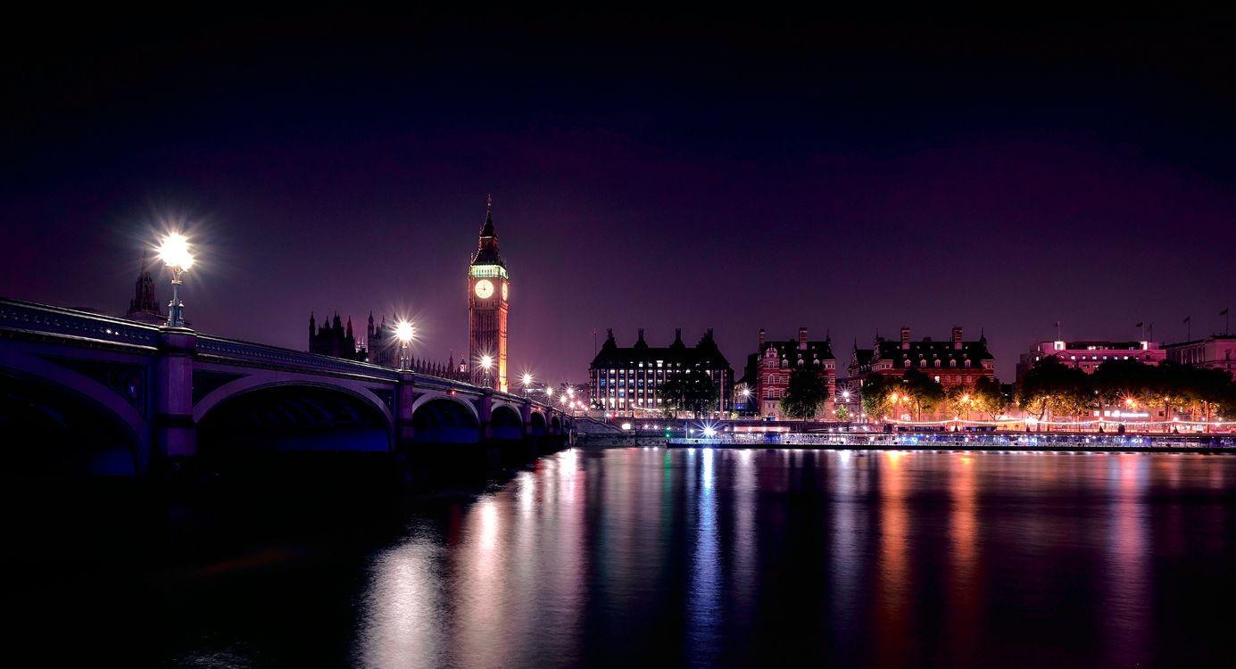 Фото бесплатно мост, ночь, огни - на рабочий стол