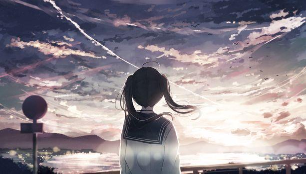 Заставки аниме, небо, облака