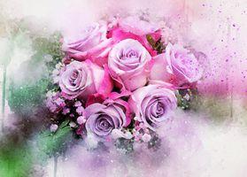 Wallpaper roses on Desk