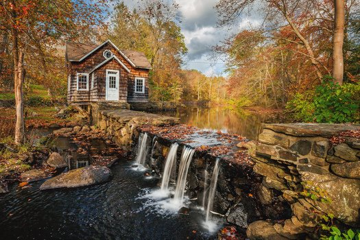 Бесплатные фото Истон,Коннектикут,осень,река,водопад,домик,деревья,пейзаж