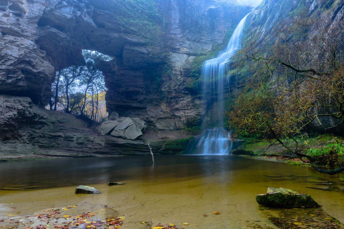 Фото бесплатно водопад, Каталония, скалы, арка, водоём, природа, природа - скачать на рабочий стол