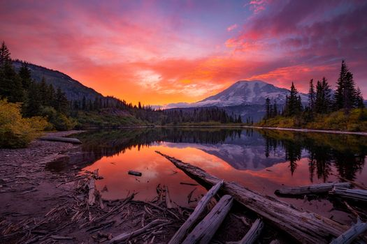 Photo free Bench Lake, Mount Rainier National Park, sunset