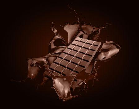 Фото бесплатно брызги, шоколад, плитка шоколада