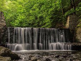 Фото бесплатно река, водопад, лес