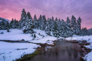 Скачать фотографию закат, зима
