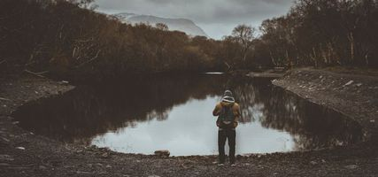 Фото бесплатно человек, пруд, облачно