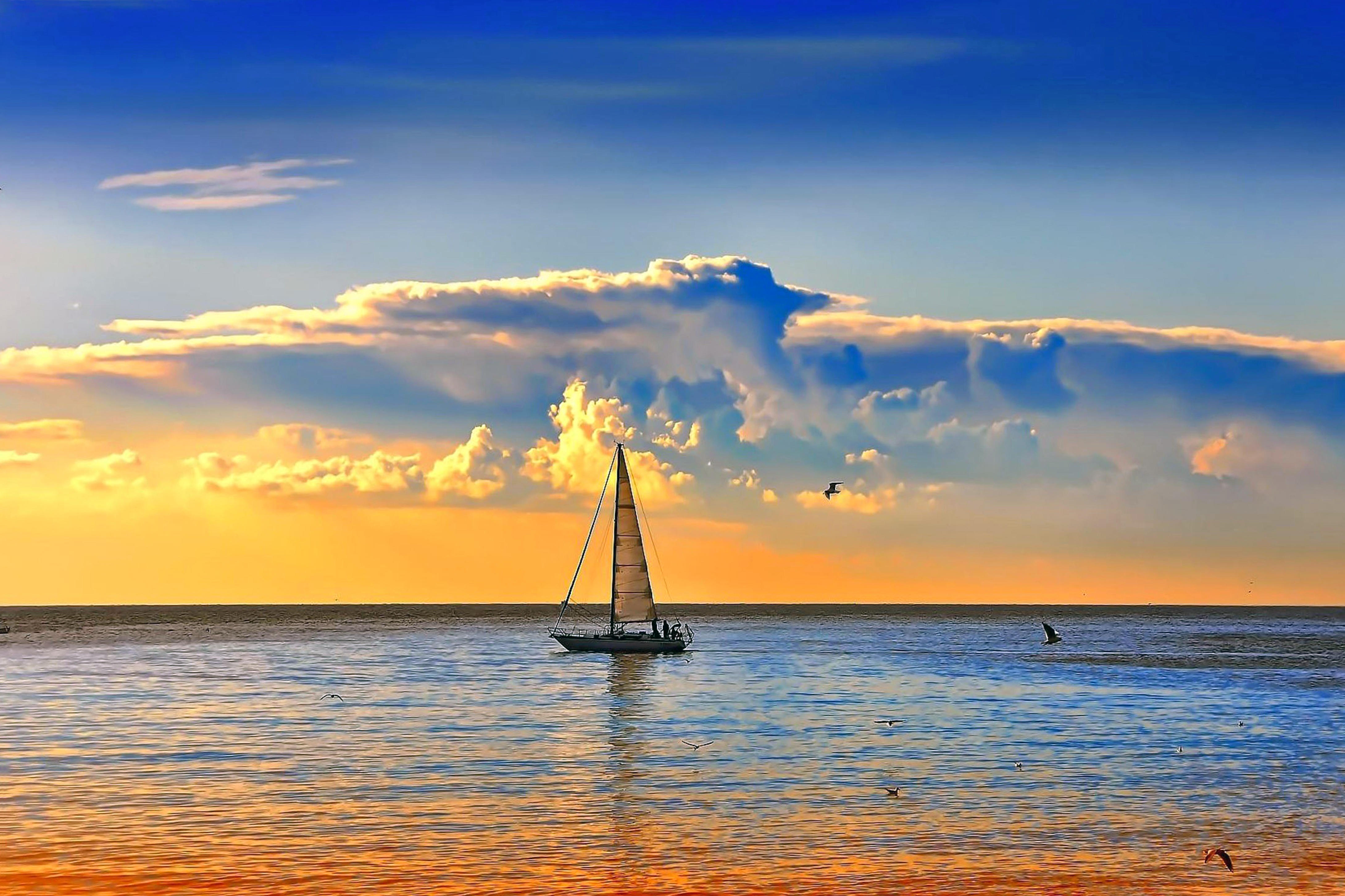 Обои море, закат, яхта