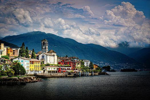Photo free mountain lake, mountains, Switzerland