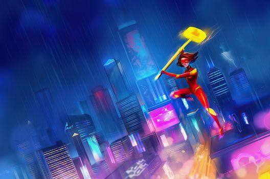 Фото бесплатно супергерои, произведение искусства, художник