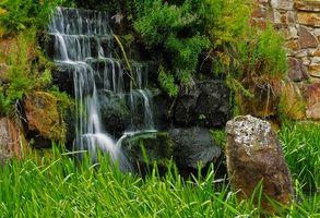 Фото бесплатно водопад, стена, камни