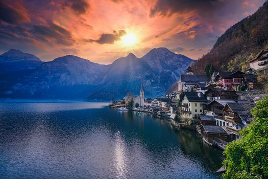 Photo free Hallstatt, Austria, sunset