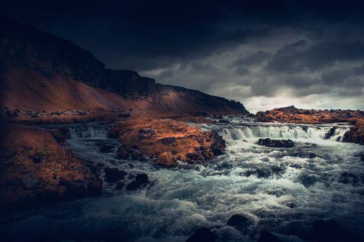 Фото бесплатно Исландия, каскад, темная погода