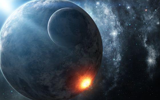 Фото бесплатно взрыв, метеорит, звезды