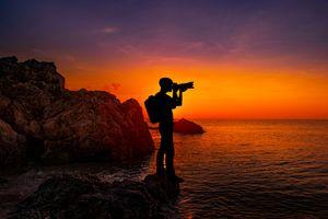 Бесплатные фото море,небо,смеркаться,воды,волна,солнце,романтичный