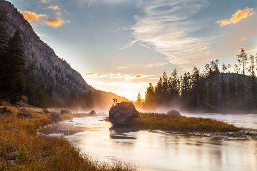 Фото бесплатно заповедник, восход солнца, отражение