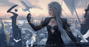 Бесплатные фото WLOP, аниме-девушки, острые уши, голубь, фэнтези, фэнтези-девушка