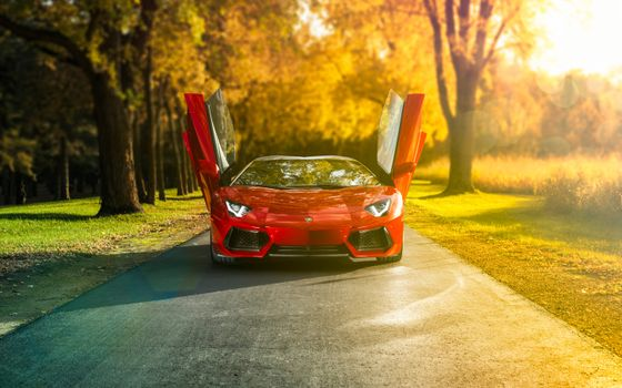 Photo free Lamborghini Aventador, red, front view