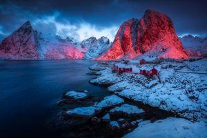 Фото бесплатно Lofoten Islands Norway Лофотенские острова Норвегия закат, горы, дома