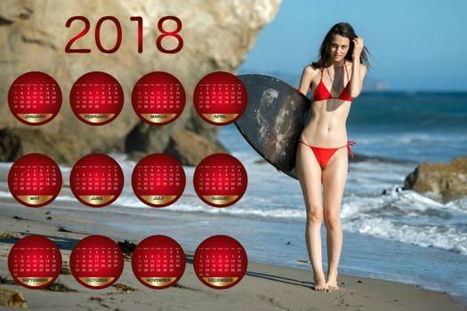 модель, бикини, пляж, доска для серфинга, календарь