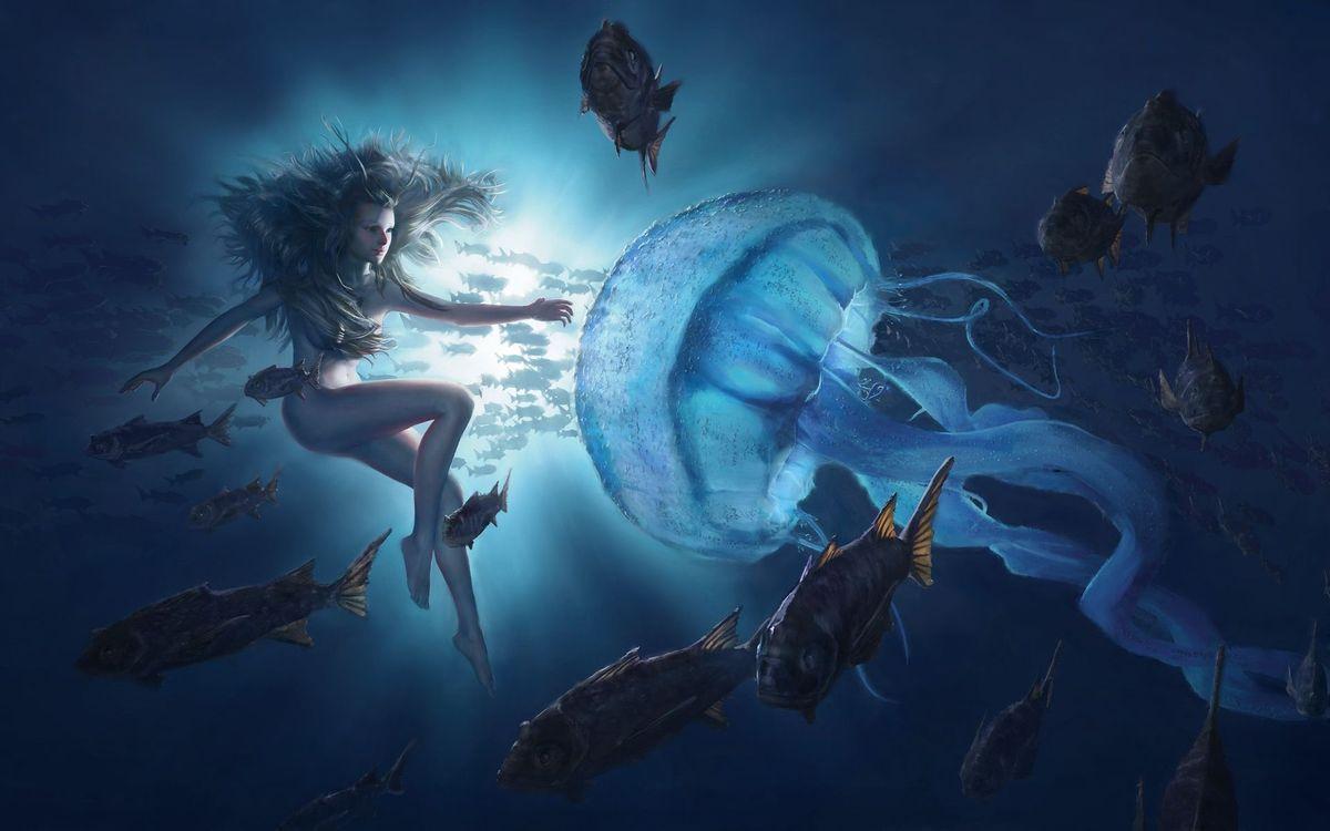 Фото бесплатно море, рыбы, девушка - на рабочий стол