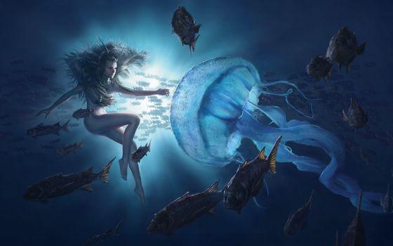 море,рыбы,девушка,медуза,фантастика