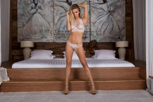 Photo free underwear, room, blonde