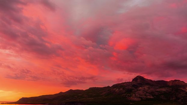 Photo free red sky, sunset, hill