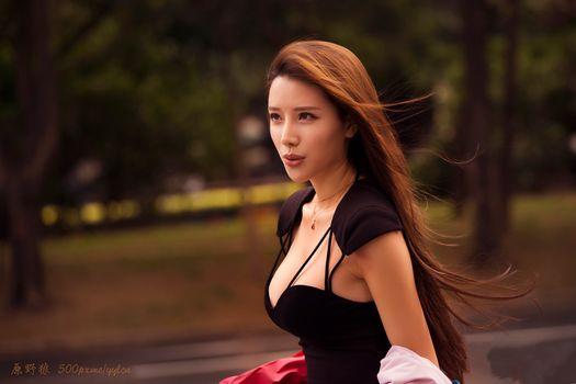 Бесплатные фото женщины,брюнетка,азиатские,карие глаза,черные вершины,портрет,боке,юань yelang