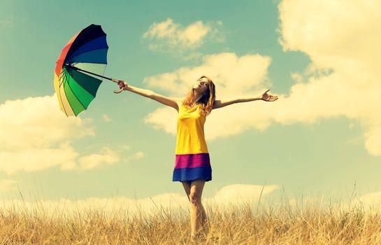 Фото бесплатно женщин, поле, зонтик