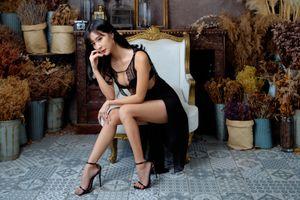 Photo free female, brunette girl, legs