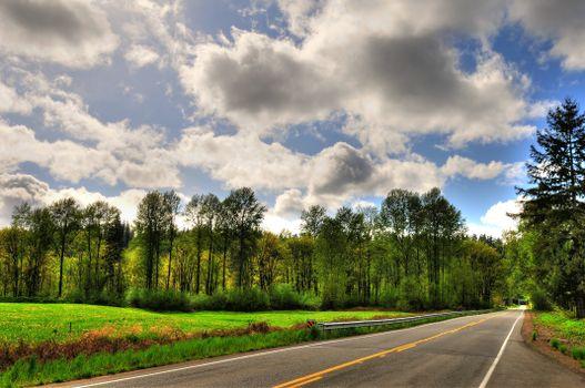 Фото бесплатно пейзажи, облака, дорога
