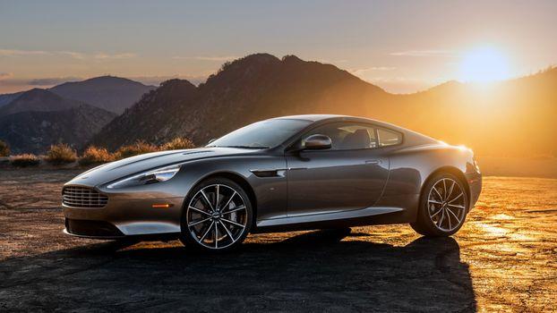 Photo free Aston Martin, silvery, sunset